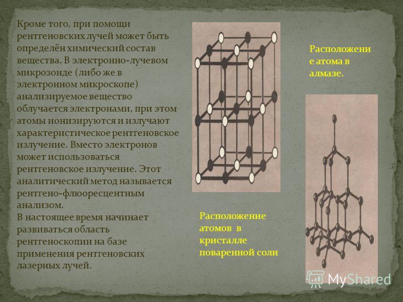 Кроме того, при помощи рентгеновских лучей может быть определён химический состав вещества. В электронно-лучевом микрозонде (либо же в электронном микроскопе) анализируемое вещество облучается электронами, при этом атомы ионизируются и излучают харак