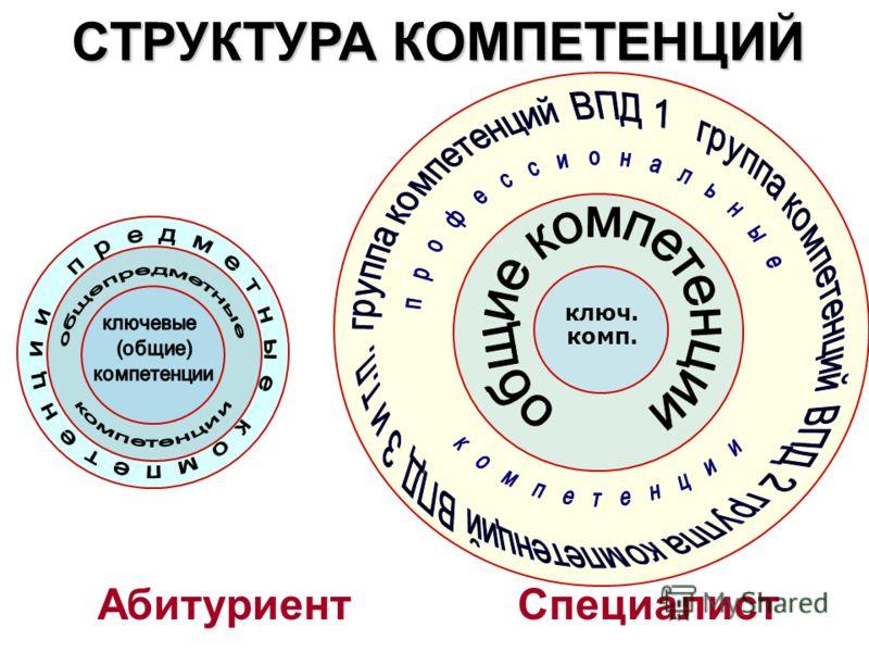 Абитуриент Специалист СТРУКТУРА КОМПЕТЕНЦИЙ ключ. комп.