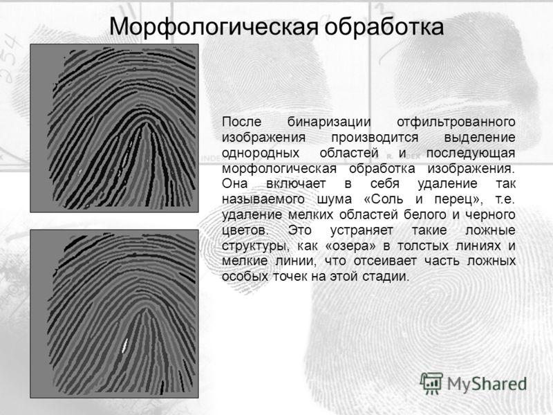 После бинаризации отфильтрованного изображения производится выделение однородных областей и последующая морфологическая обработка изображения. Она включает в себя удаление так называемого шума «Соль и перец», т.е. удаление мелких областей белого и че