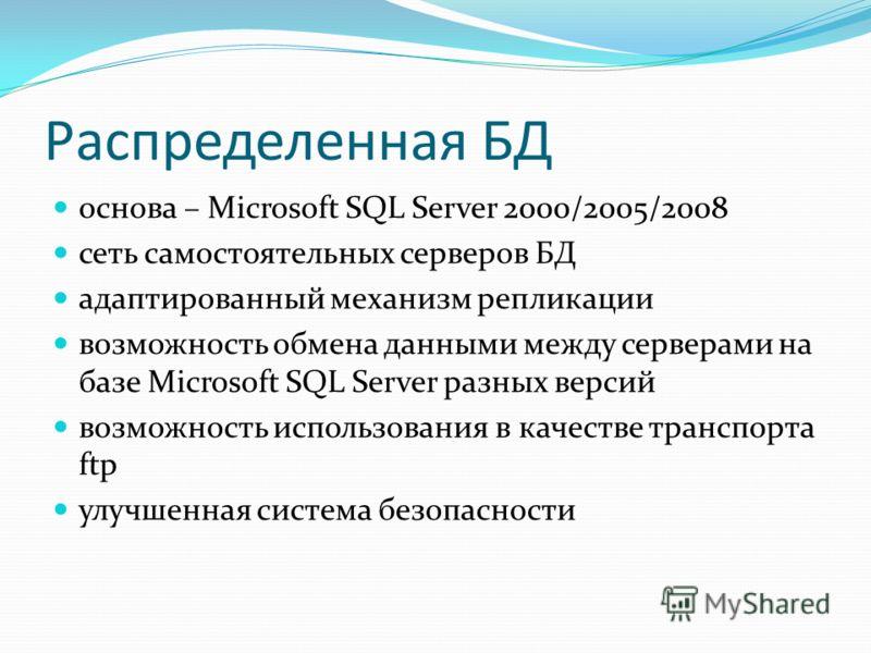 Распределенная БД основа – Microsoft SQL Server 2000/2005/2008 сеть самостоятельных серверов БД адаптированный механизм репликации возможность обмена данными между серверами на базе Microsoft SQL Server разных версий возможность использования в качес