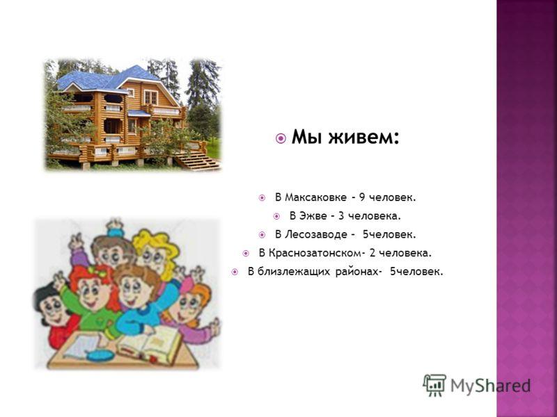Мы живем: В Максаковке – 9 человек. В Эжве – 3 человека. В Лесозаводе – 5человек. В Краснозатонском- 2 человека. В близлежащих районах- 5человек.