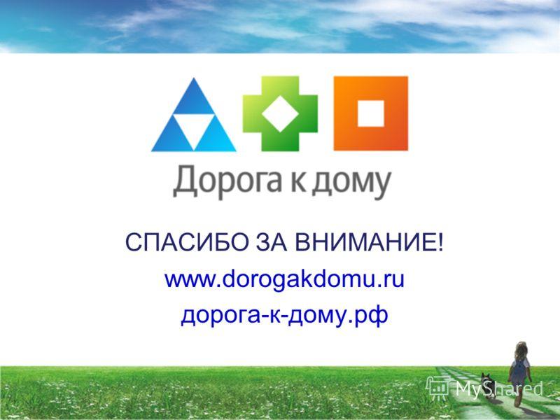 СПАСИБО ЗА ВНИМАНИЕ! www.dorogakdomu.ru дорога-к-дому.рф