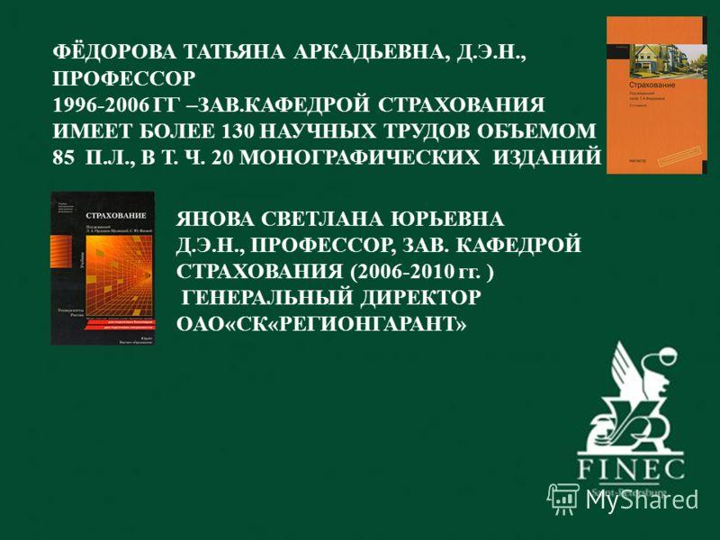 ФЁДОРОВА ТАТЬЯНА АРКАДЬЕВНА, Д.Э.Н., ПРОФЕССОР 1996-2006 ГГ –ЗАВ.КАФЕДРОЙ СТРАХОВАНИЯ ИМЕЕТ БОЛЕЕ 130 НАУЧНЫХ ТРУДОВ ОБЪЕМОМ 85 П.Л., В Т. Ч. 20 МОНОГРАФИЧЕСКИХ ИЗДАНИЙ ЯНОВА СВЕТЛАНА ЮРЬЕВНА Д.Э.Н., ПРОФЕССОР, ЗАВ. КАФЕДРОЙ СТРАХОВАНИЯ (2006-2010 гг