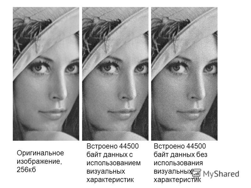 Оригинальное изображение, 256кб Встроено 44500 байт данных с использованием визуальных характеристик Встроено 44500 байт данных без использования визуальных характеристик