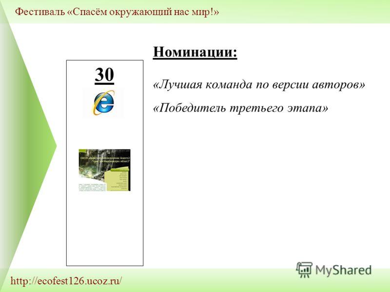 http://ecofest126.ucoz.ru/ Фестиваль «Спасём окружающий нас мир!» 30 Номинации: «Лучшая команда по версии авторов» «Победитель третьего этапа»