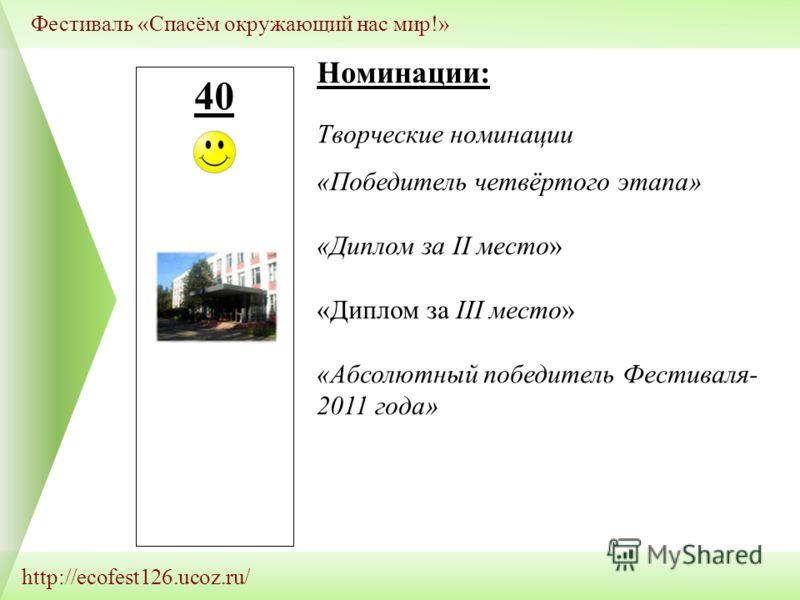 http://ecofest126.ucoz.ru/ Фестиваль «Спасём окружающий нас мир!» 40 Номинации: Творческие номинации «Победитель четвёртого этапа» «Диплом за II место» «Диплом за III место» «Абсолютный победитель Фестиваля- 2011 года»