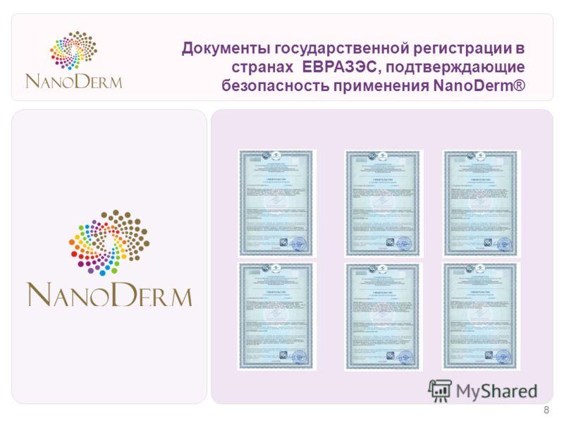 Документы государственной регистрации в странах ЕВРАЗЭС, подтверждающие безопасность применения NanoDerm® 8