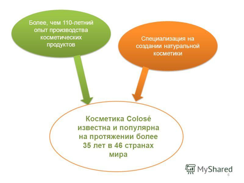 Более, чем 110-летний опыт производства косметических продуктов Более, чем 110-летний опыт производства косметических продуктов Специализация на создании натуральной косметики Косметика Colosé известна и популярна на протяжении более 35 лет в 46 стра