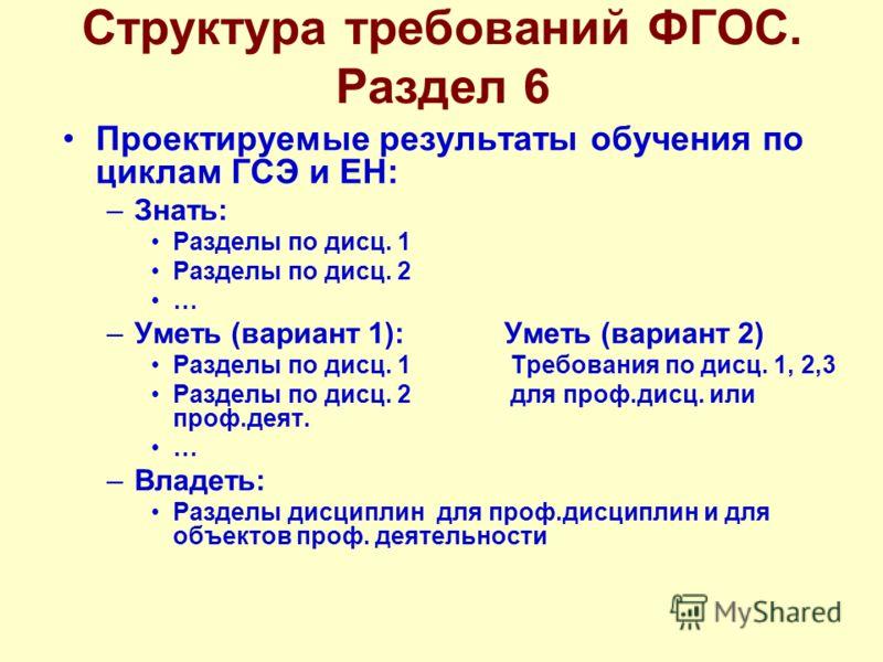 Структура требований ФГОС. Раздел 6 Проектируемые результаты обучения по циклам ГСЭ и ЕН: –Знать: Разделы по дисц. 1 Разделы по дисц. 2 … –Уметь (вариант 1):Уметь (вариант 2) Разделы по дисц. 1 Требования по дисц. 1, 2,3 Разделы по дисц. 2 для проф.д