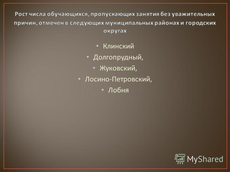 Клинский Долгопрудный, Жуковский, Лосино - Петровский, Лобня