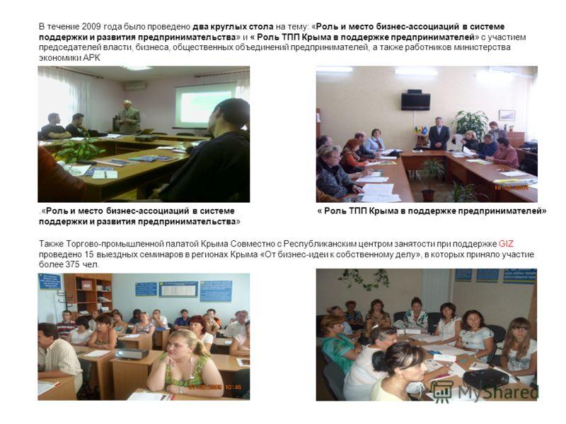 В течение 2009 года было проведено два круглых стола на тему: «Роль и место бизнес-ассоциаций в системе поддержки и развития предпринимательства» и « Роль ТПП Крыма в поддержке предпринимателей» с участием председателей власти, бизнеса, общественных