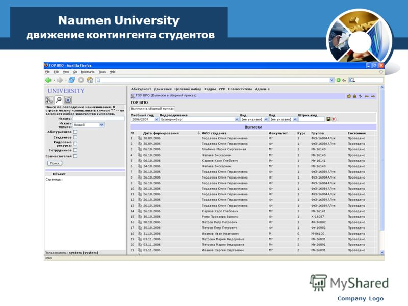 www.thmemgallery.com Company Logo Naumen University движение контингента студентов