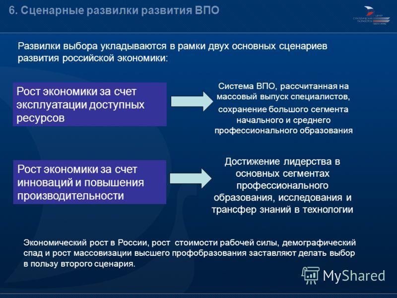 Развилки выбора укладываются в рамки двух основных сценариев развития российской экономики: 6. Сценарные развилки развития ВПО Рост экономики за счет эксплуатации доступных ресурсов Экономический рост в России, рост стоимости рабочей силы, демографич