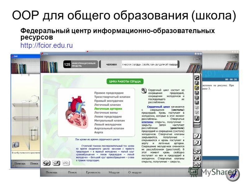 ООР для общего образования (школа) Федеральный центр информационно-образовательных ресурсов http://fcior.edu.ru