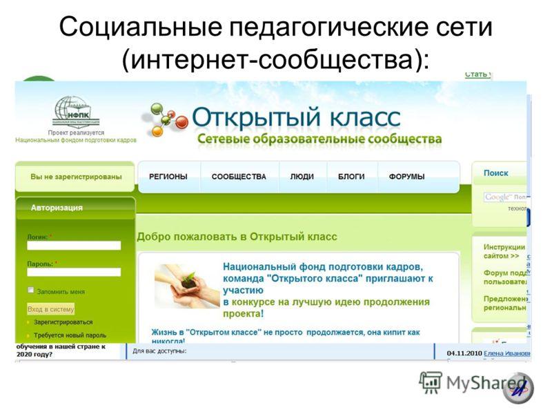Социальные педагогические сети (интернет-сообщества):