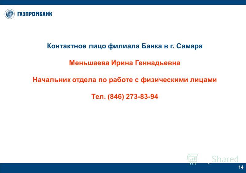 13 Этапы получения ипотечного кредита в Газпромбанке 4. Вы заключаете договор долевого участия с НФ «Газпромипотека», вносите собственные денежные средства в счет оплаты квартиры, осуществляете страхование жизни и предоставляете копии документов в Ба