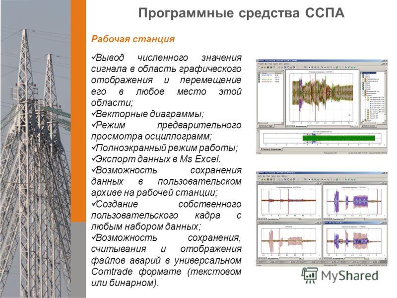 Вывод численного значения сигнала в область графического отображения и перемещение его в любое место этой области; Векторные диаграммы; Режим предварительного просмотра осциллограмм; Полноэкранный режим работы; Экспорт данных в Ms Exсel. Возможность