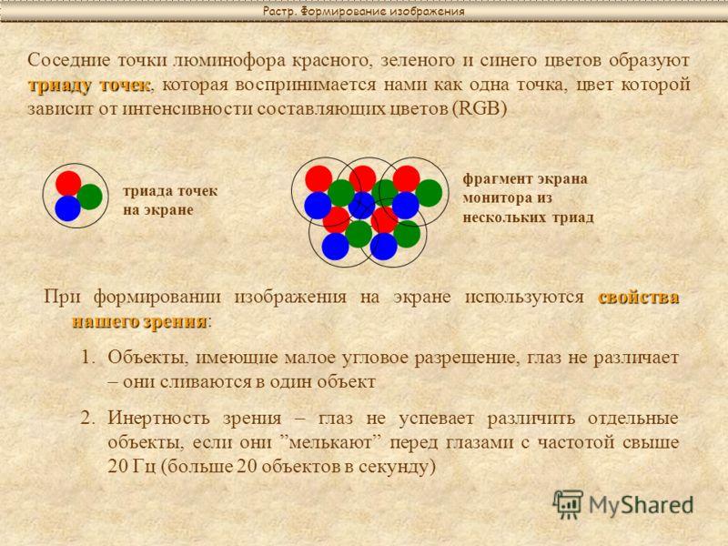 триаду точек Соседние точки люминофора красного, зеленого и синего цветов образуют триаду точек, которая воспринимается нами как одна точка, цвет которой зависит от интенсивности составляющих цветов (RGB) триада точек на экране фрагмент экрана монито