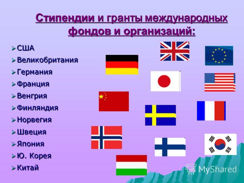 Стипендии и гранты международных фондов и организаций: США США Великобритания Великобритания Германия Германия Франция Франция Венгрия Венгрия Финляндия Финляндия Норвегия Норвегия Швеция Швеция Япония Япония Ю. Корея Ю. Корея Китай Китай