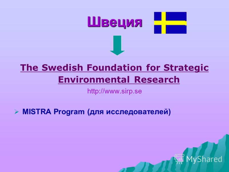 Швеция The Swedish Foundation for Strategic Environmental Research http://www.sirp.se MISTRA Program (для исследователей)