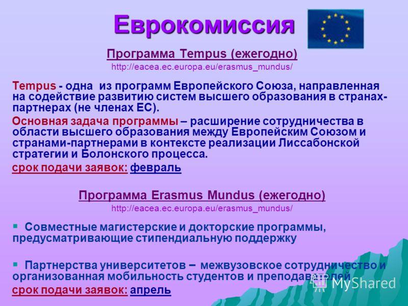 Еврокомиссия Программа Tempus (ежегодно) http://eacea.ec.europa.eu/erasmus_mundus/ Tempus - одна из программ Европейского Союза, направленная на содействие развитию систем высшего образования в странах- партнерах (не членах ЕС). Основная задача прогр