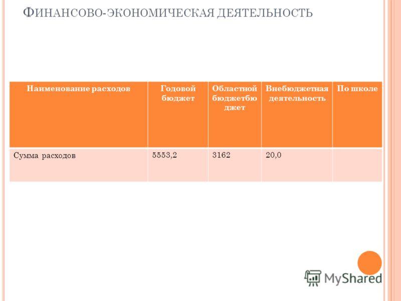 Ф ИНАНСОВО - ЭКОНОМИЧЕСКАЯ ДЕЯТЕЛЬНОСТЬ Наименование расходовГодовой бюджет Областной бюджетбю джет Внебюджетная деятельность По школе Сумма расходов 5553,2316220,0