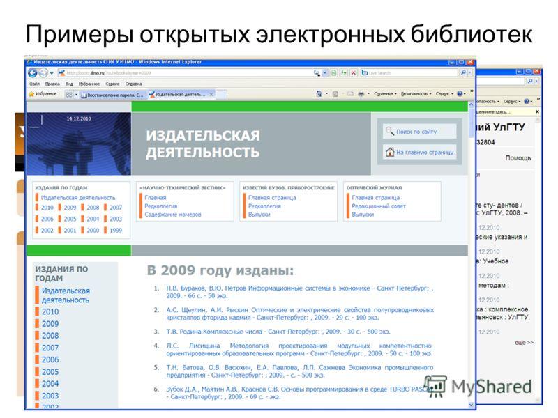 Примеры открытых электронных библиотек