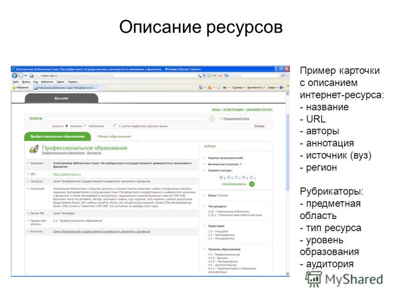 Описание ресурсов Пример карточки с описанием интернет-ресурса: - название - URL - авторы - аннотация - источник (вуз) - регион Рубрикаторы: - предметная область - тип ресурса - уровень образования - аудитория
