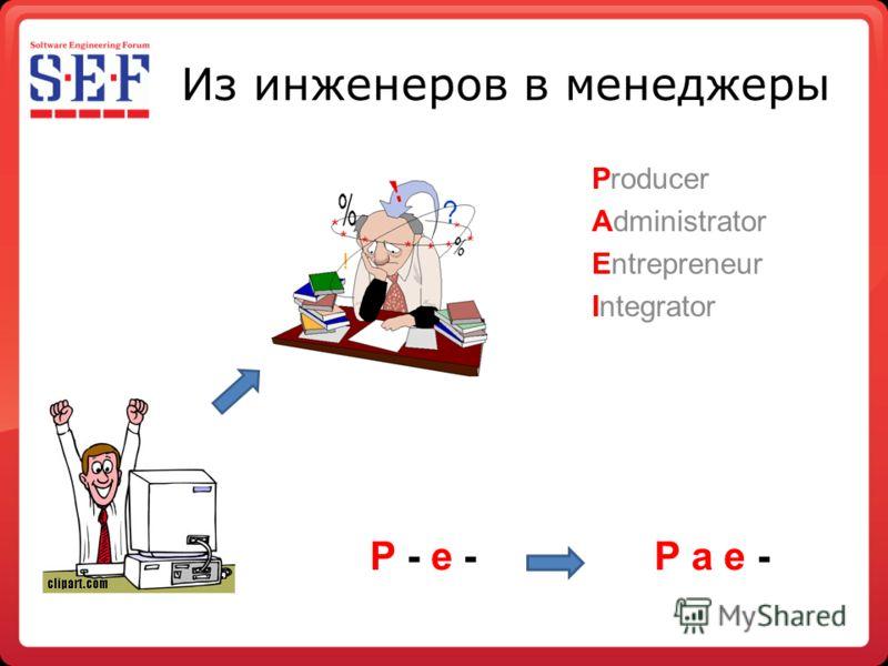 Из инженеров в менеджеры Producer Administrator Entrepreneur Integrator P - e -P a e -