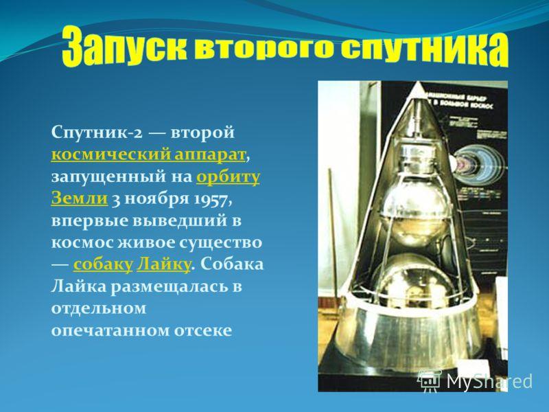 Спутник-2 второй космический аппарат, запущенный на орбиту Земли 3 ноября 1957, впервые выведший в космос живое существо собаку Лайку. Собака Лайка размещалась в отдельном опечатанном отсеке космический аппараторбиту ЗемлисобакуЛайку