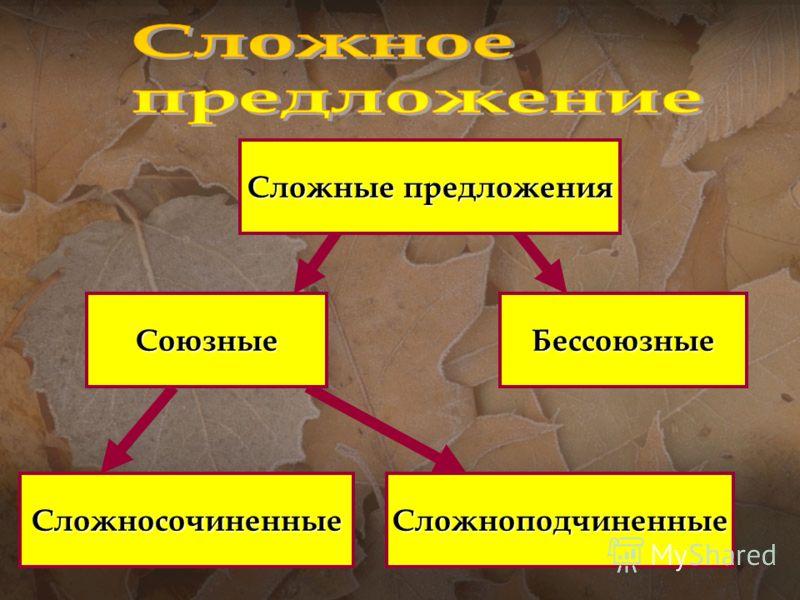 Бессоюзные СложносочиненныеСложноподчиненные Союзные Сложные предложения