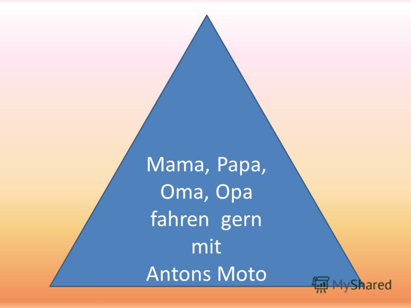 Mama, Papa, Oma, Opa fahren gern mit Antons Moto