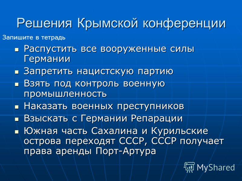 Решения Крымской конференции Распустить все вооруженные силы Германии Распустить все вооруженные силы Германии Запретить нацистскую партию Запретить нацистскую партию Взять под контроль военную промышленность Взять под контроль военную промышленность