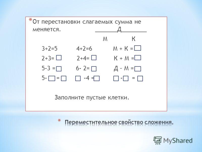 * От перестановки слагаемых сумма не меняется. _______Д________ М К 3+2=5 4+2=6 М + К = 2+3= 2+4= К + М = 5-3 = 6- 2= Д – М = 5- = -4 = - = Заполните пустые клетки.