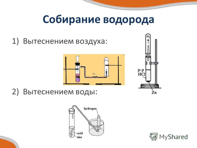 Собирание водорода 1)Вытеснением воздуха: 2)Вытеснением воды: