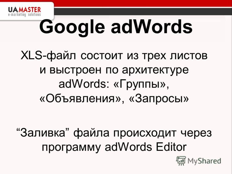 Google adWords XLS-файл состоит из трех листов и выстроен по архитектуре adWords: «Группы», «Объявления», «Запросы» Заливка файла происходит через программу adWords Editor