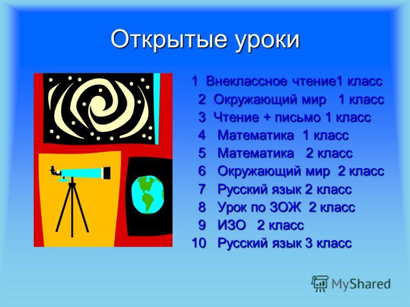 Открытые уроки 1 Внеклассное чтение1 класс 1 Внеклассное чтение1 класс 2 Окружающий мир 1 класс 2 Окружающий мир 1 класс 3 Чтение + письмо 1 класс 3 Чтение + письмо 1 класс 4 Математика 1 класс 4 Математика 1 класс 5 Математика 2 класс 5 Математика 2