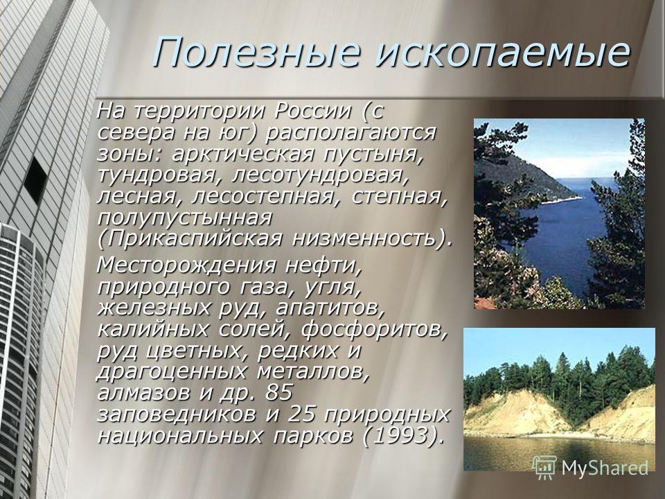 Полезные ископаемые На территории России (с севера на юг) располагаются зоны: арктическая пустыня, тундровая, лесотундровая, лесная, лесостепная, степная, полупустынная (Прикаспийская низменность). На территории России (с севера на юг) располагаются