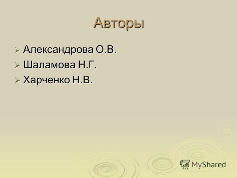 Авторы Александрова О.В. Александрова О.В. Шаламова Н.Г. Шаламова Н.Г. Харченко Н.В. Харченко Н.В.
