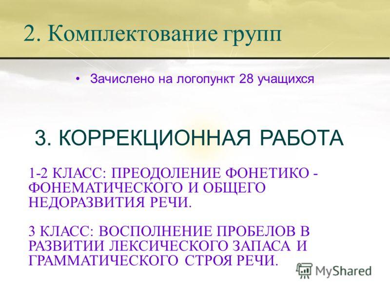 2. Комплектование групп Зачислено на логопункт 28 учащихся 3. КОРРЕКЦИОННАЯ РАБОТА 1-2 КЛАСС: ПРЕОДОЛЕНИЕ ФОНЕТИКО - ФОНЕМАТИЧЕСКОГО И ОБЩЕГО НЕДОРАЗВИТИЯ РЕЧИ. 3 КЛАСС: ВОСПОЛНЕНИЕ ПРОБЕЛОВ В РАЗВИТИИ ЛЕКСИЧЕСКОГО ЗАПАСА И ГРАММАТИЧЕСКОГО СТРОЯ РЕЧИ