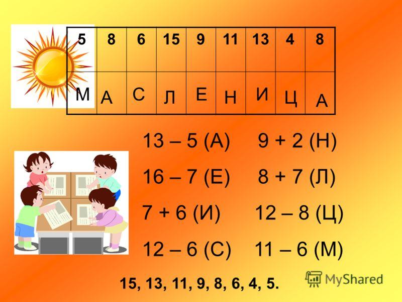 586159111348 М А С Л Е Н И Ц А 13 – 5 (А) 9 + 2 (Н) 16 – 7 (Е) 8 + 7 (Л) 7 + 6 (И) 12 – 8 (Ц) 12 – 6 (С) 11 – 6 (М) 15, 13, 11, 9, 8, 6, 4, 5.