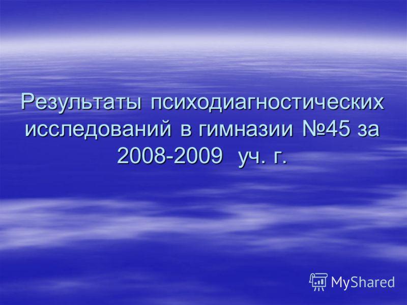Результаты психодиагностических исследований в гимназии 45 за 2008-2009 уч. г.
