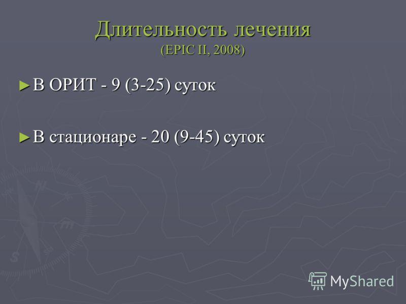Длительность лечения (EPIC II, 2008) В ОРИТ - 9 (3-25) суток В ОРИТ - 9 (3-25) суток В стационаре - 20 (9-45) суток В стационаре - 20 (9-45) суток