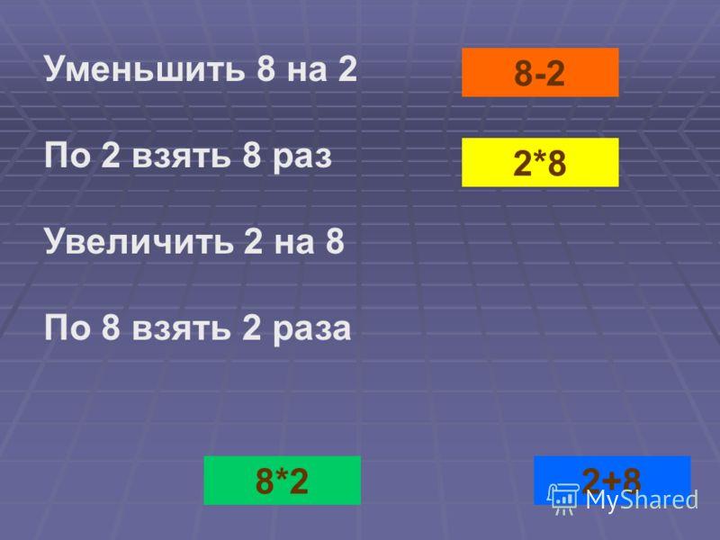 8-2 2*82+88*2 Уменьшить 8 на 2 По 2 взять 8 раз Увеличить 2 на 8 По 8 взять 2 раза