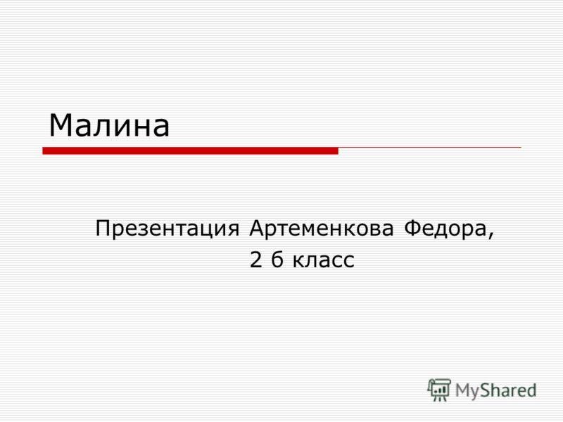 Малина Презентация Артеменкова Федора, 2 б класс