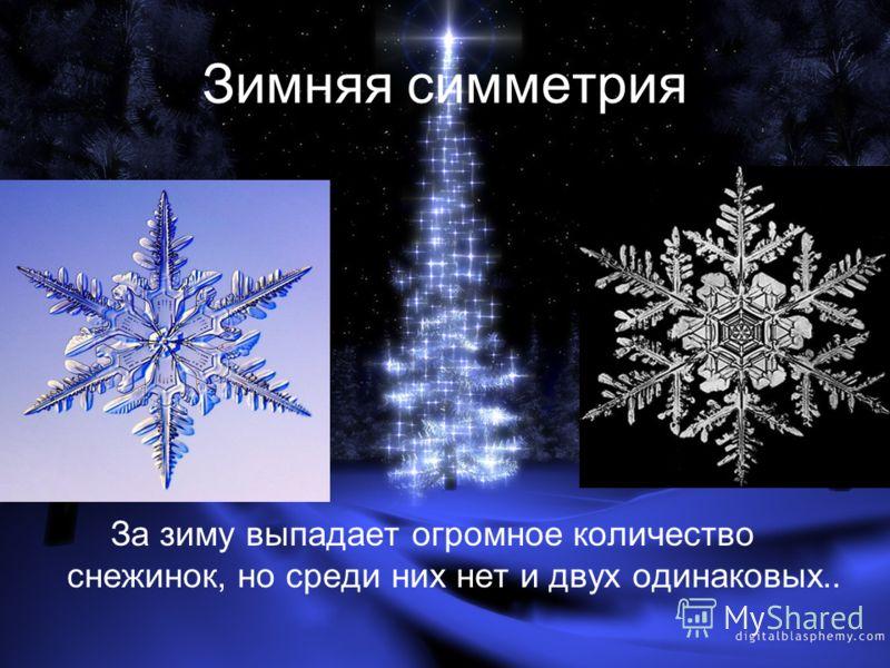 Зимняя симметрия За зиму выпадает огромное количество снежинок, но среди них нет и двух одинаковых..