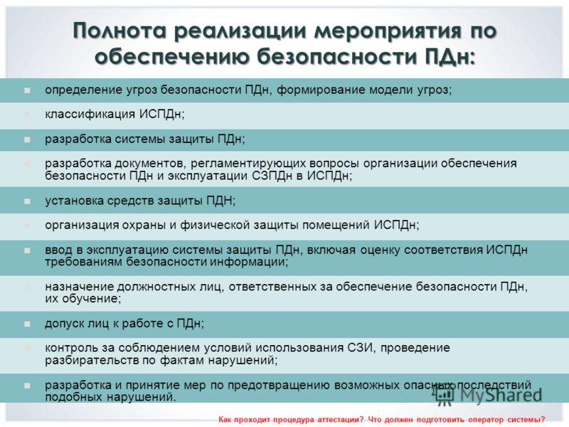 Полнота реализации мероприятия по обеспечению безопасности ПДн: определение угроз безопасности ПДн, формирование модели угроз; классификация ИСПДн; разработка системы защиты ПДн; разработка документов, регламентирующих вопросы организации обеспечения