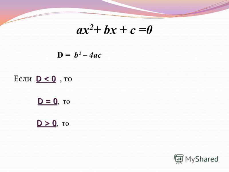 ax 2 + bx + c =0 D = b 2 – 4ac D < 0 Если D < 0, то D = 0 D = 0, то D > 0 D > 0, то