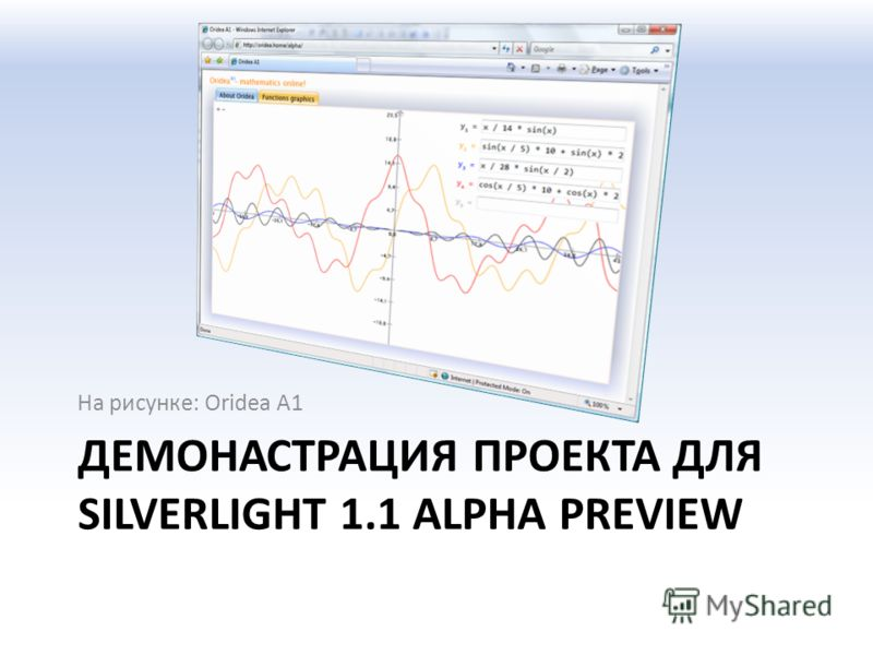 ДЕМОНАСТРАЦИЯ ПРОЕКТА ДЛЯ SILVERLIGHT 1.1 ALPHA PREVIEW На рисунке: Oridea A1