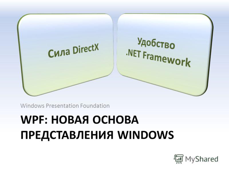 WPF: НОВАЯ ОСНОВА ПРЕДСТАВЛЕНИЯ WINDOWS Windows Presentation Foundation